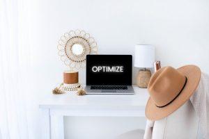 Optimize website for Pinterest header photo - office desk with laptop