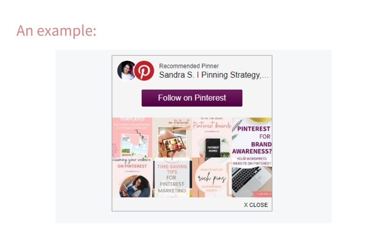 Pinterest follow widget Milo tree