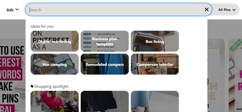 Pinterest keywords search bar