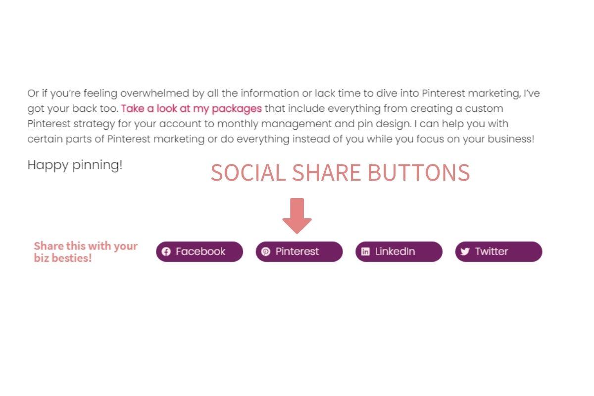 Optimize website for Pinterest - Social share buttons blog